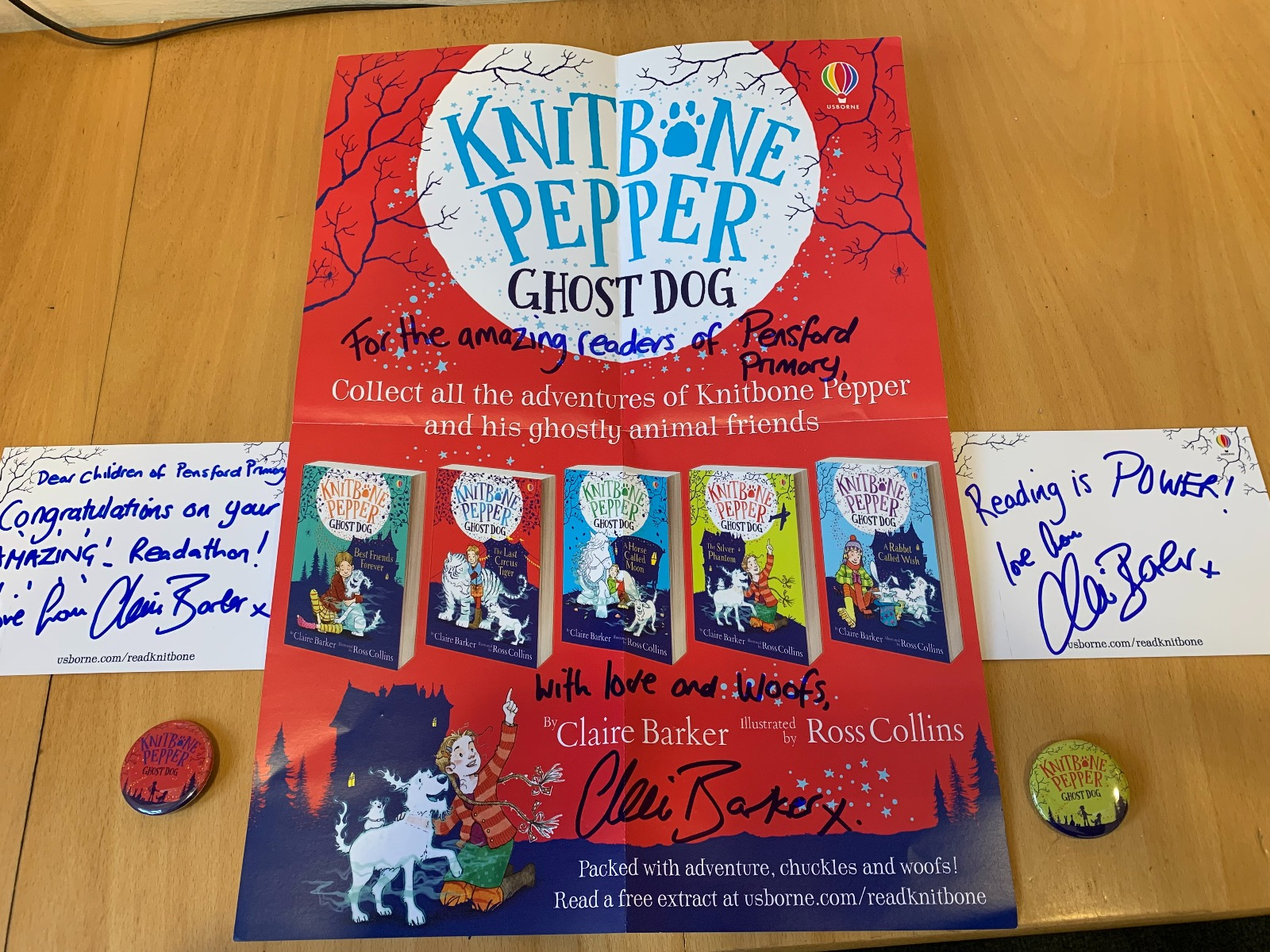 An extra special congratulations to Pensford Primary School from author Claire Barker, author of the Knitbone Pepper: Ghost Dog series